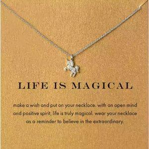 Silver Unicorn Card Necklace